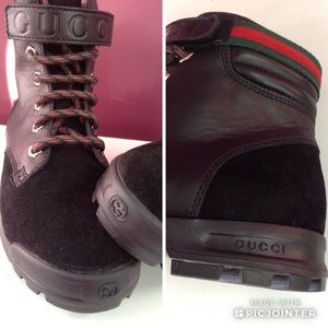 Gucci Shoes - GUCCI Black Hiking Leather/Suede Children's Boots